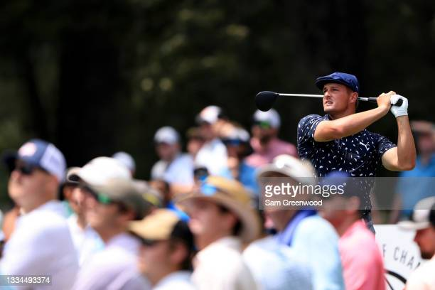Bryson DeChambeau plays a shot on the fifth hole during the final round of the World Golf Championship-FedEx St Jude Invitational at TPC Southwind on...