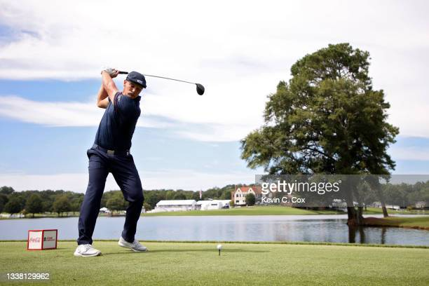 Bryson DeChambeau plays his shot from the eighth tee during the second round of the TOUR Championship at East Lake Golf Club on September 03, 2021 in...