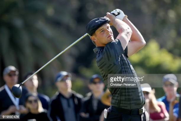 Bryson DeChambeau plays his shot from the second tee during the third round of the Genesis Open at Riviera Country Club on February 17 2018 in...