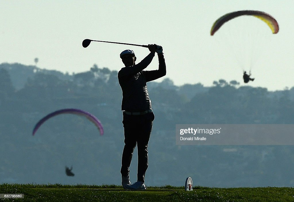 Bryson Dechambeau plays his shot from the sixth tee during the first round of the Farmers Insurance Open at Torrey Pines South on January 26, 2017 in San Diego, California.