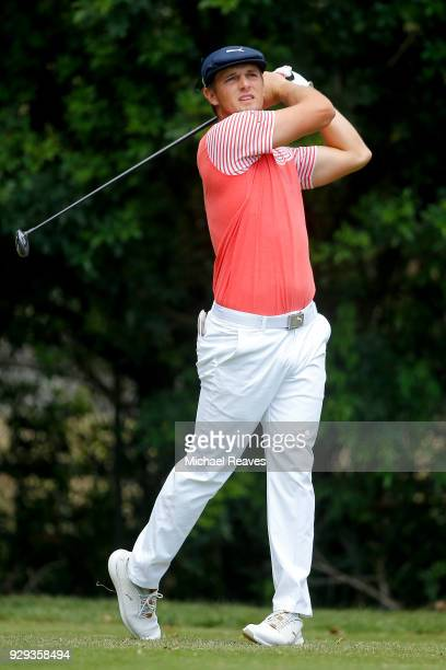 Bryson DeChambeau plays his shot from the third tee during the first round of the Valspar Championship at Innisbrook Resort Copperhead Course on...