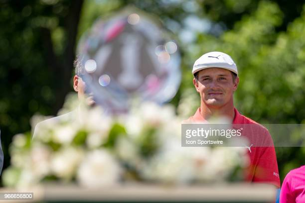 Bryson DeChambeau reacts after winning the second round playoff of the Memorial Tournament at Muirfield Village Golf Club in Dublin Ohio on June 03...