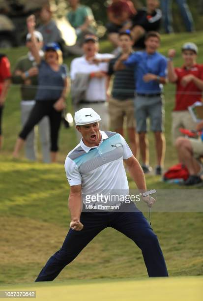 Bryson DeChambeau reacts to making an eagle on the 16th hole during the final round of the Shriners Hospitals for Children Open at TPC Summerlin on...
