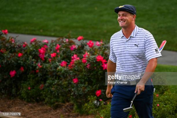 Bryson DeChambeau smiles on the 17th hole during the third round of THE PLAYERS Championship on the Stadium Course at TPC Sawgrass on March 13 in...