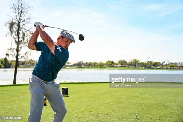 Bryson DeChambeau takes a practice driver swing on the sixth hole tee during the second round of the Arnold Palmer Invitational presented by...
