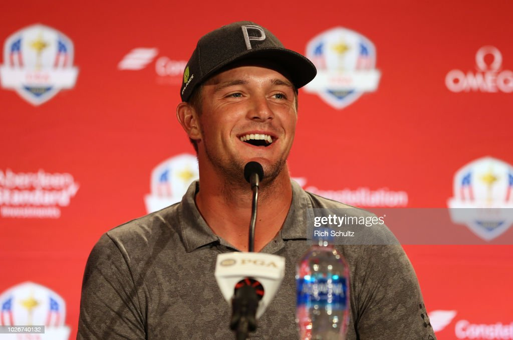Bryson DeChambeau talks to the media after being introduced by U.S. Ryder Cup Team Captain Jim Furyk, during a press conference at the Philadelphia Marriott West on September 4, 2018 in West Conshohocken, Pennsylvania. Phil Mickelson and Tiger Woods were also choses as the Captain's Picks for the 2018 U.S. team.