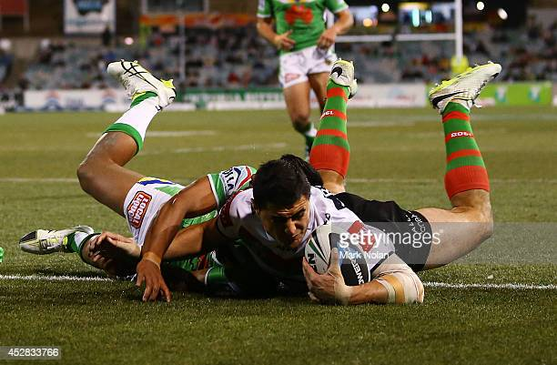 Bryson Goodwin of the Rabbitohs scores a try during the round 20 NRL match between the Canberra Raiders and the South Sydney Rabbitohs at GIO Stadium...