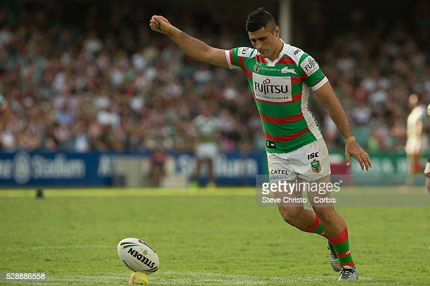 Bryson Goodwin of the Rabbitohs takes a kick for goal against the Roosters during the match between the Sydney Roosters and the South Sydney...