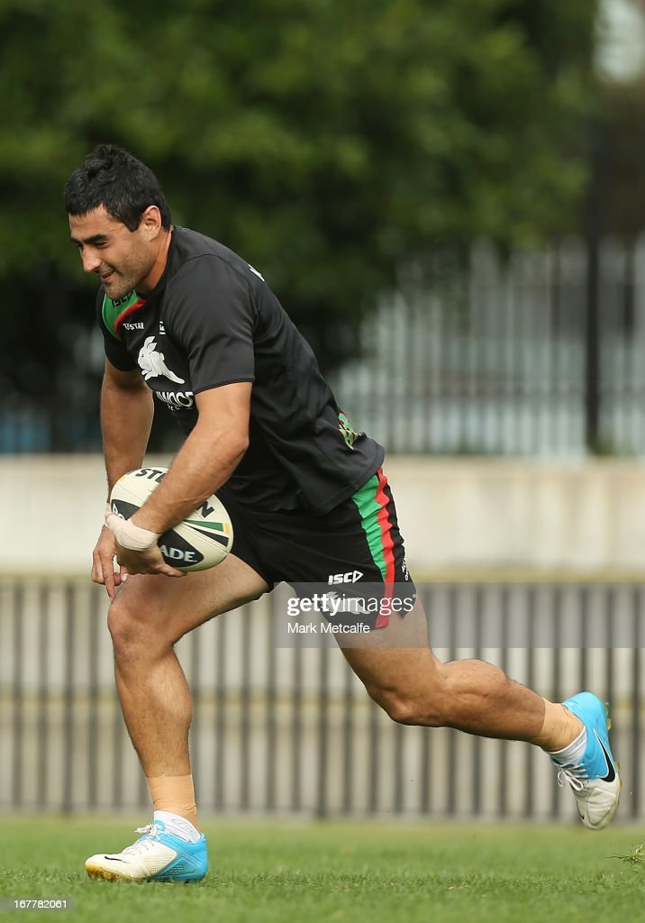 Bryson Goodwin runs with the ball during a South Sydney Rabbitohs NRL training session at Redfern Oval on April 30, 2013 in Sydney, Australia.