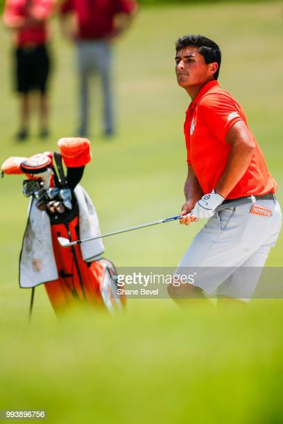 Bryson Nimmer of Clemson watches a bunker shot during the Division I Men's Golf Individual Stroke Play Championship held at the Karsten Creek Golf...