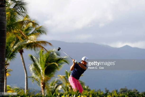 Bryson Nimmer plays his shot from the second tee during the first round of the Puerto Rico Open at Coco Beach Golf and Country Club on February 21...