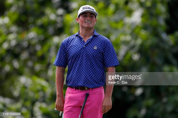 Bryson Nimmer reacts on the 15th tee during the first round of the Puerto Rico Open at Coco Beach Golf and Country Club on February 21 2019 in Rio...