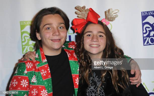 Bryson Robinson and Brooklyn Robinson attend the LA Zoo Lights Special Preview/VIP Night held at Los Angeles Zoo on November 10 2018 in Los Angeles...
