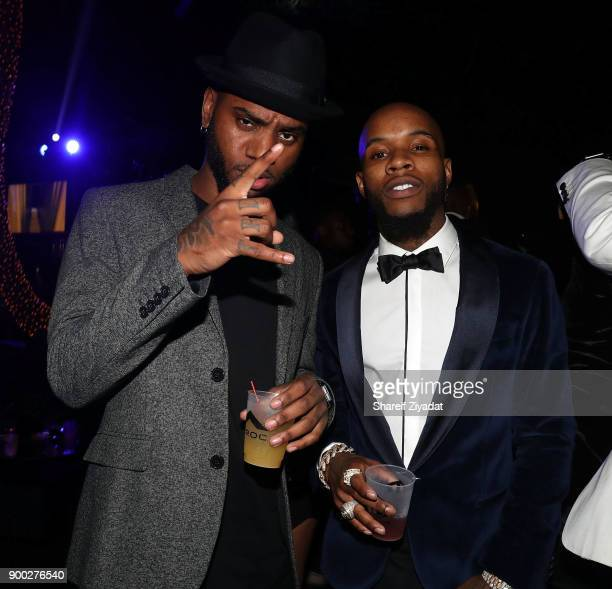 Bryson Tiller and Tory Lanez attends Sean 'Diddy' Combs Hosts CIROC The New Year 2018 Powered By Deleon Tequila at Star Island on December 31 2017 in...