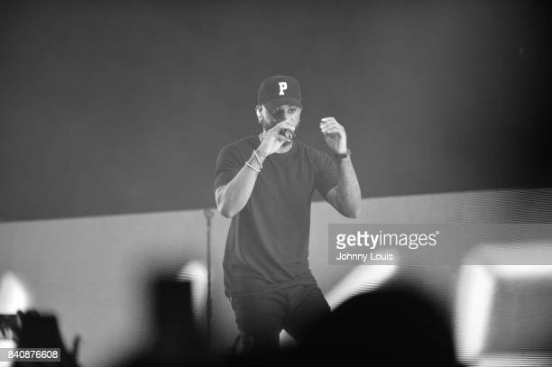 Bryson Tiller performs on stage during the'Set It Off Tour' at Watsco Center on August 29 2017 in Coral Gables Florida