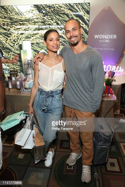 Brytni Sarpy and Bryton James attend the Daytime Emmy Awards PreAwards Networking Party/Gift Lounge at Pasadena Convention Center on May 4 2019 in...