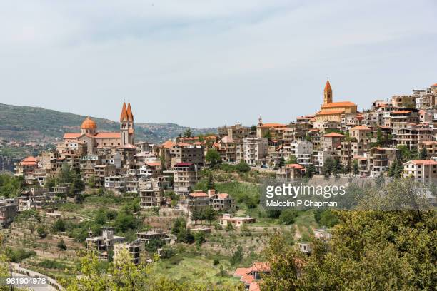 bsharri (becharre), the birthplace of kahlil gibran, and kadisha valley, lebanon - valley stock pictures, royalty-free photos & images