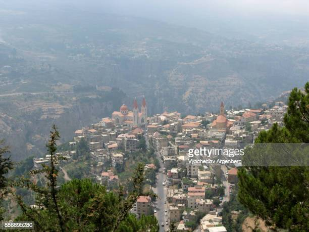 bsharri (becharre) village as seen from the slopes of mt lebanon - argenberg stock pictures, royalty-free photos & images