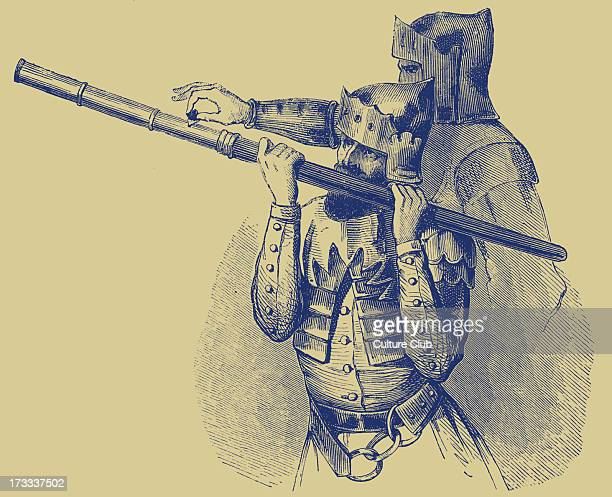 Bâton à feu or hand cannon being used by two soldiers This weapon was one of many portable artillery pieces that appeared from the fourteenth century