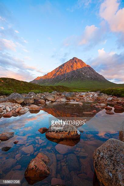 buachaille etive mor and the river coupall. - argyll and bute stock photos and pictures