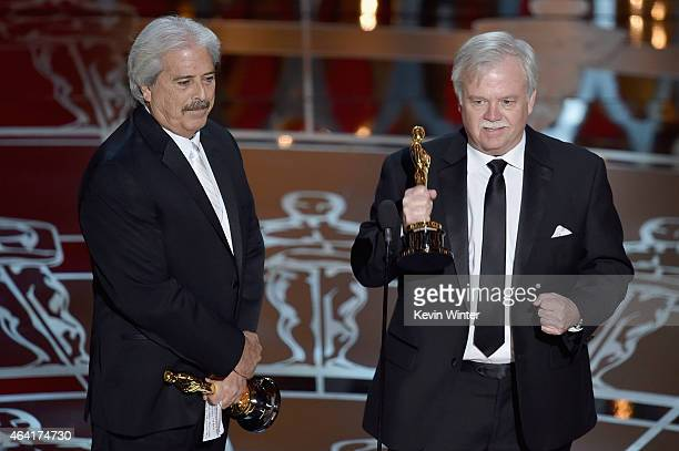 Bub Asman and Alan Robert Murray accept the Best Sound Editing Award for 'American Sniper' onstage during the 87th Annual Academy Awards at Dolby...