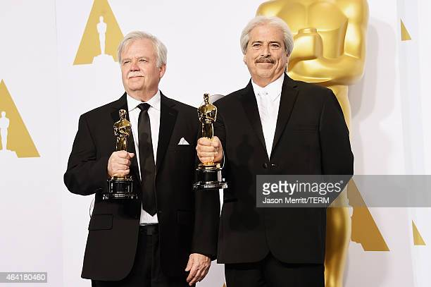 Bub Asman and Alan Robert Murray winners of the Best Sound Editing Award for 'American Sniper' poses in the press room during the 87th Annual Academy...