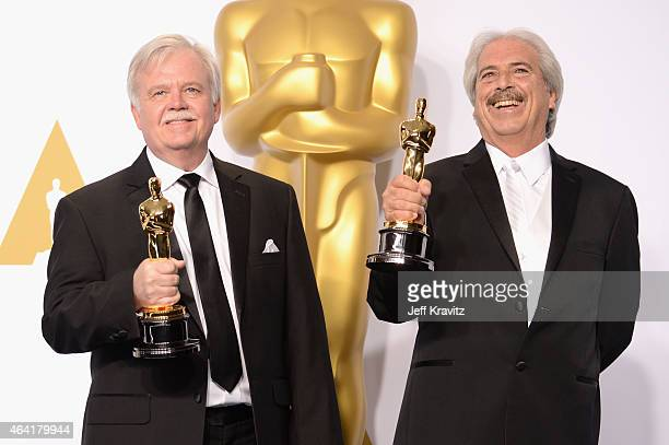 Bub Asman and Alan Robert Murray with the award for best sound editing for 'American Sniper' pose in the press room during the 87th Annual Academy...