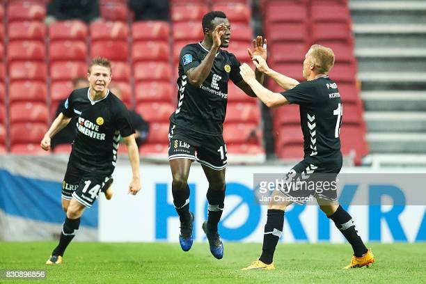 Bubacarr Sanneh of AC Horsens and teammates celebrate after his 01 goal during the Danish Alka Superliga match between FC Copenhagen and AC Horsens...
