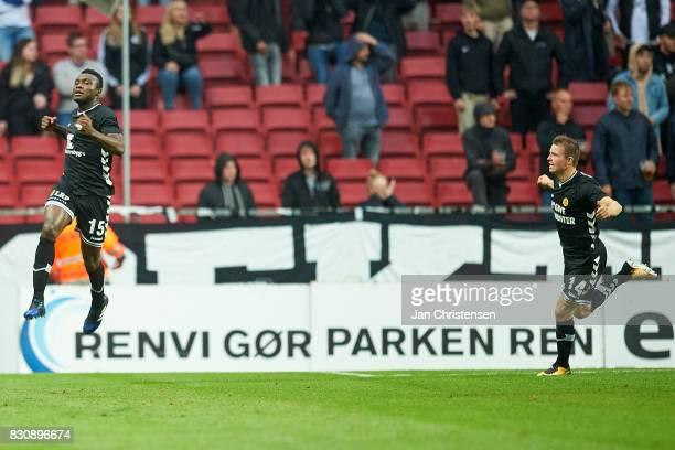 Bubacarr Sanneh of AC Horsens celebrate after his 01 goal during the Danish Alka Superliga match between FC Copenhagen and AC Horsens at Telia Parken...