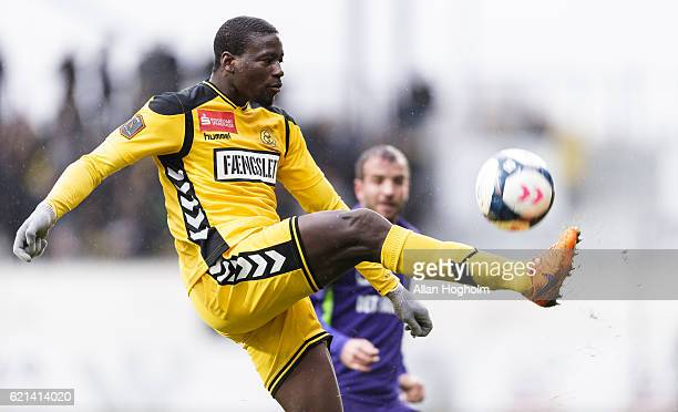 Bubacarr Sanneh of AC Horsens controls the ball during the Danish Alka Superliga match between AC Horsens and FC Midtjylland at CASA Arena Horsens on...