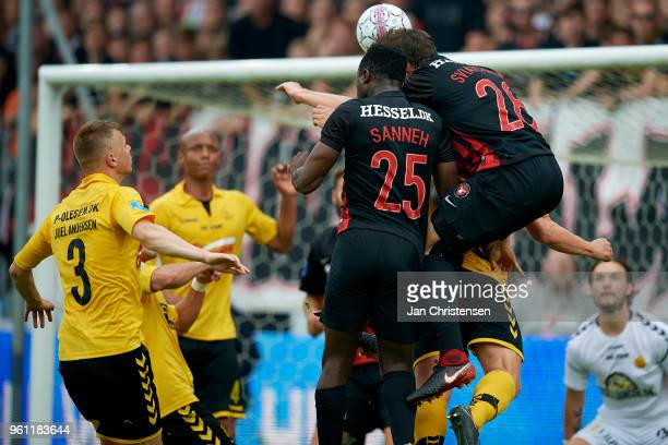 Bubacarr Sanneh of FC Midtjylland and Erik Sviatchenko of FC Midtjylland heading the ball during the Danish Alka Superliga match between FC...