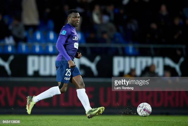 Bubacarr Sanneh of FC Midtjylland controls the ball during the Danish DBU Pokalen Cup quarterfinal match between Hobro IK and FC Midtjylland at DS...