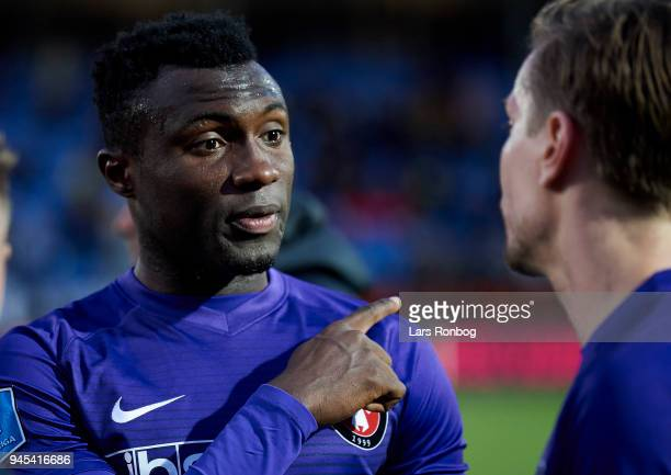 Bubacarr Sanneh of FC Midtjylland gestures during the Danish DBU Pokalen Cup quarterfinal match between Hobro IK and FC Midtjylland at DS Arena on...