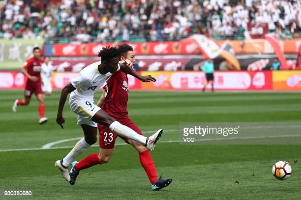 Bubacarr Trawally of Guizhou Hengfeng reacts during the 2018 Ping An Chinese Football Association Super League second round match between Guizhou...