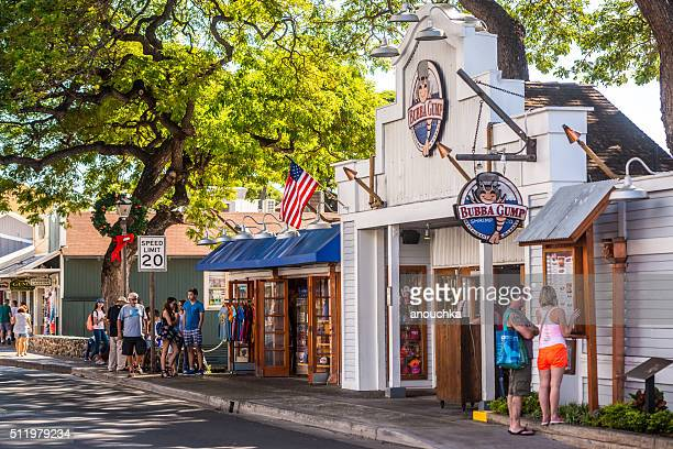bubba gump shrimp restaurant and gift shop in lahaina - lahaina stock pictures, royalty-free photos & images