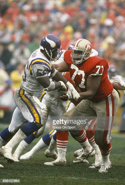 Bubba Paris of the San Francisco 49ers in action against Chris Doleman of the Minnesota Vikings during an NFL football game October 30 1988 at...