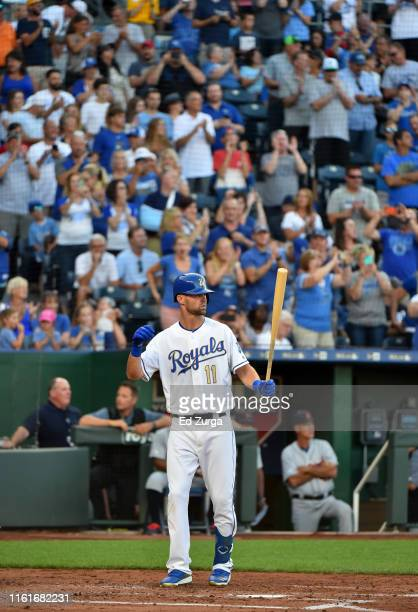 Bubba Starling of the Kansas City Royals receives a standing ovation as he makes his first Major League batting appearance in the second inning...