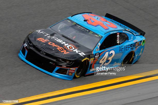 Bubba Wallace driver of the Aftershokz Chevrolet during practice for the Monster Energy NASCAR Cup Series 61st Annual Daytona 500 at Daytona...