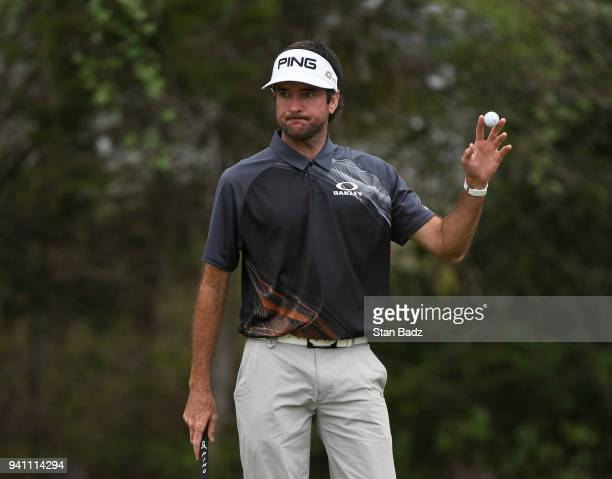 Bubba Watson acknowledges the gallery after winning the championship match at the World Golf ChampionshipsDell Technologies Match Play at Austin...