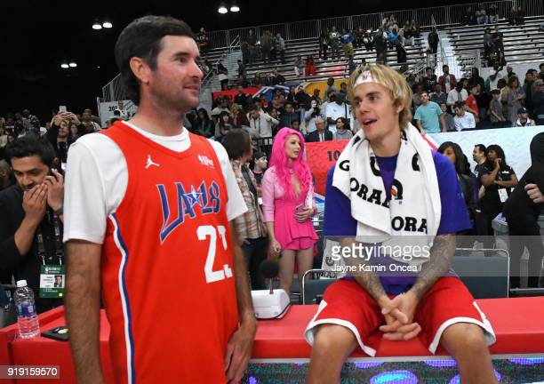 Bubba Watson and Justin Bieber attend the 2018 NBA AllStar Game Celebrity Game at Los Angeles Convention Center on February 16 2018 in Los Angeles...
