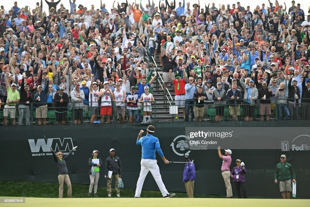 Bubba Watson birdies the 16th hole during the second round of the Waste Management Phoenix Open, at TPC Scottsdale on February 3, 2017 in Scottsdale, Arizona.