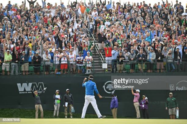 Bubba Watson birdies the 16th hole during the second round of the Waste Management Phoenix Open at TPC Scottsdale on February 3 2017 in Scottsdale...