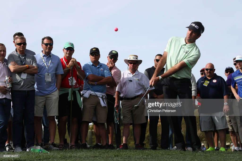 Bubba Watson chips onto the fourth green during the first round of the Waste Management Phoenix Open at TPC Scottsdale on February 2, 2017 in Scottsdale, Arizona.