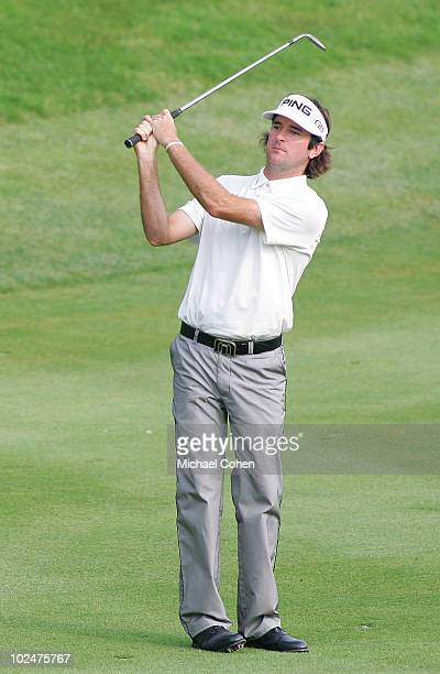 Bubba Watson hits his second shot on the 18th hole during the final round of the Travelers Championship held at TPC River Highlands on June 27, 2010...