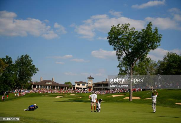 Bubba Watson hits his second shot on the 18th hole during the third round of the Memorial Tournament presented by Nationwide Insurance at Muirfield...