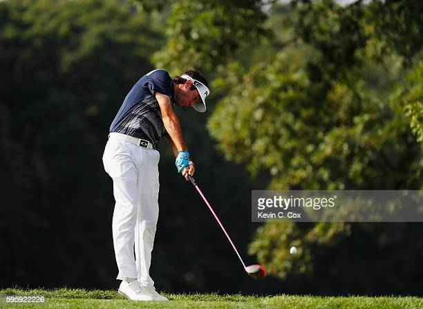 Bubba Watson hits his tee shot on the fifth hole during the second round of The Barclays in the PGA Tour FedExCup PlayOffs on the Black Course at...