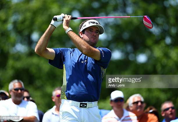 Bubba Watson hits his tee shot on the par 4 1st hole during the second round of the Memorial Tournament presented by Nationwide Insurance at...