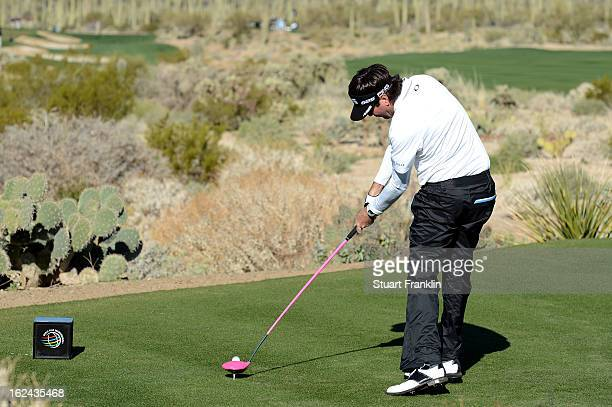 Bubba Watson hits his tee shot on the par 4 5th hole during the third round of the World Golf Championships Accenture Match Play against Jason Day of...