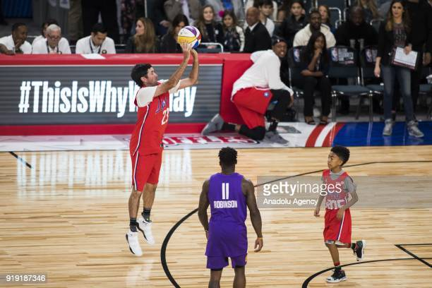 Bubba Watson of Team Clippers shoots a threepointer during the 2018 NBA AllStar Celebrity Game as part of AllStar Weekend at the Los Angeles...