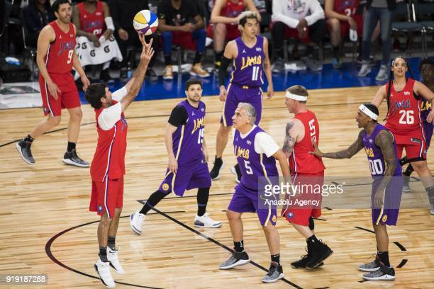 Bubba Watson of Team Clippers shoots the ball during the 2018 NBA AllStar Celebrity Game as part of AllStar Weekend at the Los Angeles Convention...